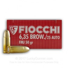 CARTRIDGE FIOCCHI .25AUTO (6.35 Browning) 50gr