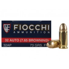 CARTRIDGE FIOCCHI .32AUTO (7.65mm Browning) FMJ 73gr