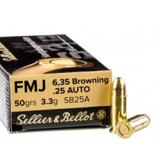 CARTRIDGE S&B .25AUTO (6.35 Browning) 50grs